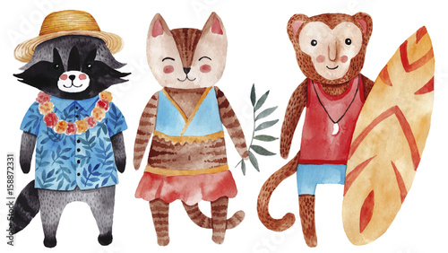 Cute watercolor illustration with cat, raccoon and monkey in summer style. - 158872331