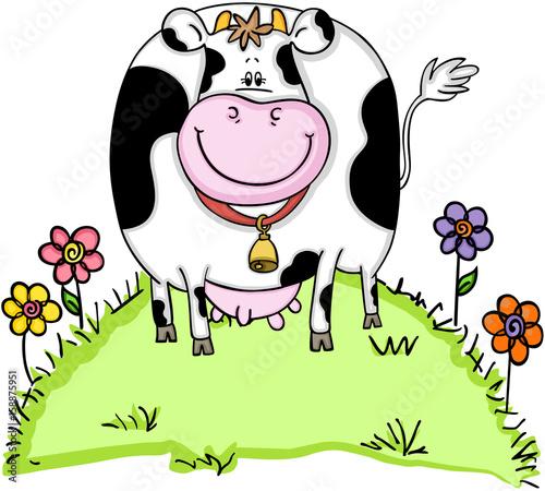 Naklejka Cute cow in green grass with flowers
