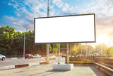 Billboard canvas mock up in city background beautiful sunshine
