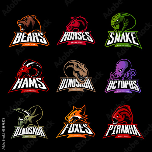 Bear, horse, snake, ram, fox, piranha, dinosaur, octopus head isolated vector logo concept. 