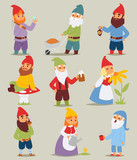 Gnome garden set funny little characters cute fairy tale dwarf man and woman in cap cartoon vector illustration.