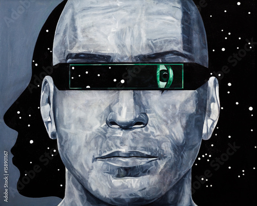 Modern art abstract portrait painting of a man in cyber space. - 158901167