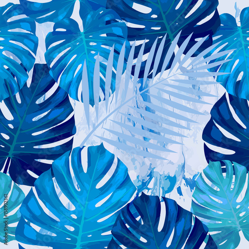 Cotton fabric Seamless pattern of leaves monstera. Tropical leaves of palm tree. Vector background.