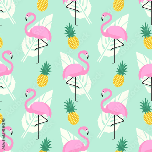 Tropical trendy seamless pattern with pink flamingos, pineapples and palm leaves on mint green background. Exotic Hawaii art background. Design for fabric, wallpaper, textile and decor.