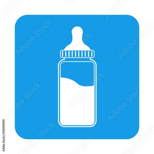 Icono plano biberon en cuadrado azul