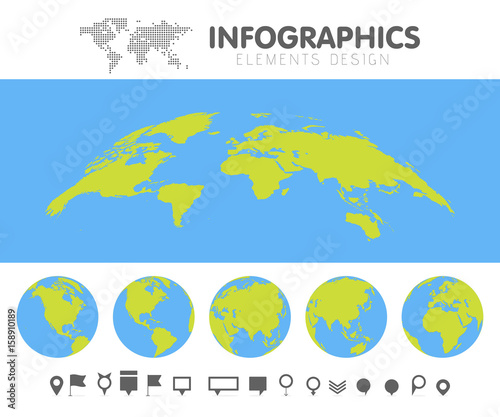 Green and blue cartoon world map globe and pins collection set green and blue cartoon world map globe and pins collection set template for infographics vector gumiabroncs Gallery