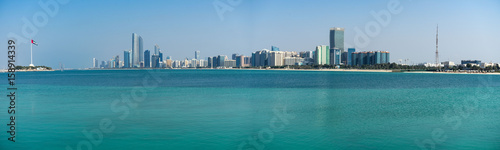 Deurstickers Abu Dhabi Full Abu Dhabi skyline from Marina viewpoint, UAE United Arab Emirates