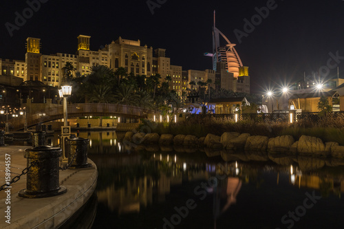 Souk Madinat Jumeirah near Burj al Arab at night, UAE United Arab Emirates Poster