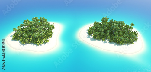 Foto op Plexiglas Turkoois Tropical Islands Scene 3D illustration