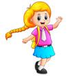 Cute blonde hair girl go to school