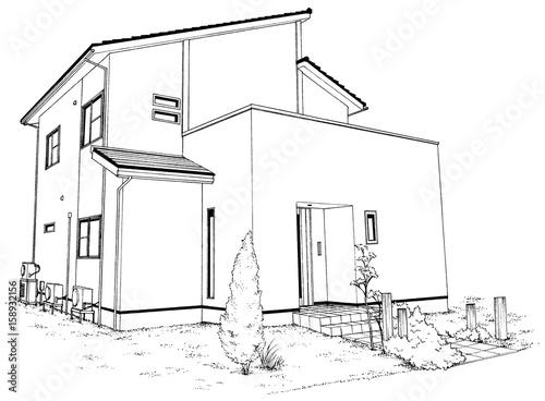 漫画風ペン画イラスト 住宅 - 158932156