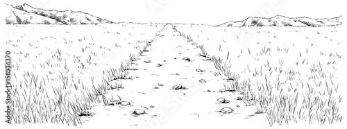 漫画風ペン画イラスト 草原 - 158936370