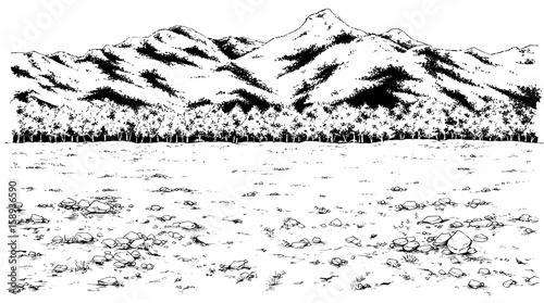 漫画風ペン画イラスト 荒野 - 158936590