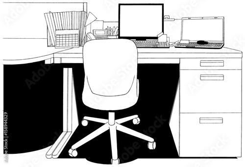 漫画風ペン画イラスト オフィス - 158944329