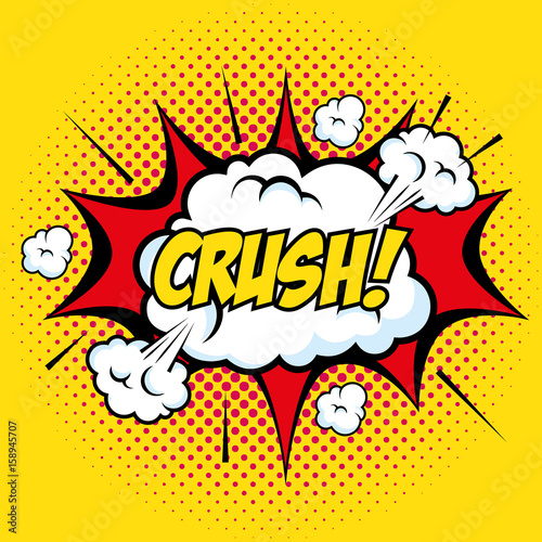 In de dag Pop Art Comic like crush art pop with clouds sign over yellow background vector illustration