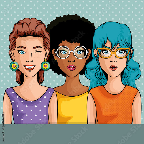 Women comic like pop art icon over blue dotted background vector illustration