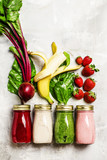 Multicolored juices and smoothies of fresh vegetables, fruits and berries, top view, food background - 158953783