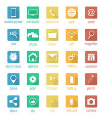 Set of flat vector square icons.