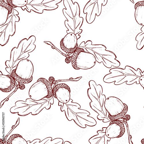 Materiał do szycia Ładny wzór wykonany z ręcznie rysowane żołędzie i liście dębu.