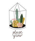 Terrarium with succulents and cacti in scandinavian style with lettering - 'please grow'. Home decoration. Vector illustration with home plants. - 158962360
