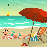 Sea landscape summer beach. Young woman in bikini sunbathing lying on sand. Vector flat cartoon illustration