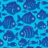 Seamless fish silhouettes theme 2