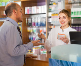 man communicate with pharmacist