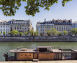 Old vintage houses view from the Seine river