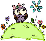 Cute owl in a garden with flowers