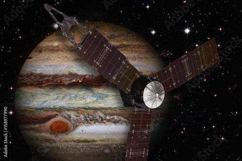 Plexiglas Juno spacecraft and Jupiter. Elements of this Image Furnished by NASA