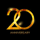 Template 20 Years Anniversary Congratulations Vector Illustratio