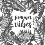 Background with Ink hand drawn protea flowers and tropical leaves. Template for cards, banners, posters with brush calligraphy style lettering. Vector illustration. - 158989162