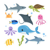 Vector set of sea creatures