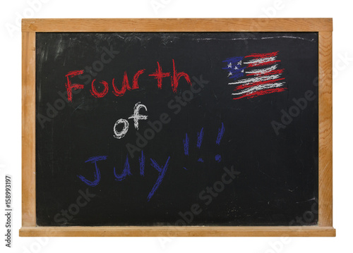Poster Fourth of July written in red,white and blue chalk on a black chalkboard isolate
