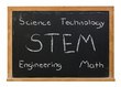 STEM science, technology, engineering and math written in white chalk on a black chalkboard isolated on white