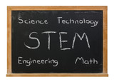 STEM science, technology, engineering and math written in white chalk on a black chalkboard isolated on white - 158994115