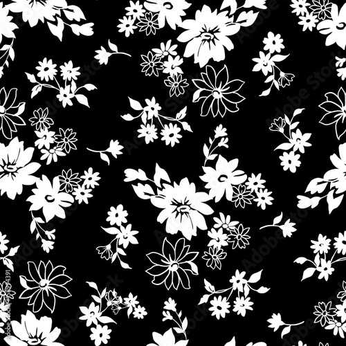 Tiny flowers seamless pattern, vector, black and white - 158994391
