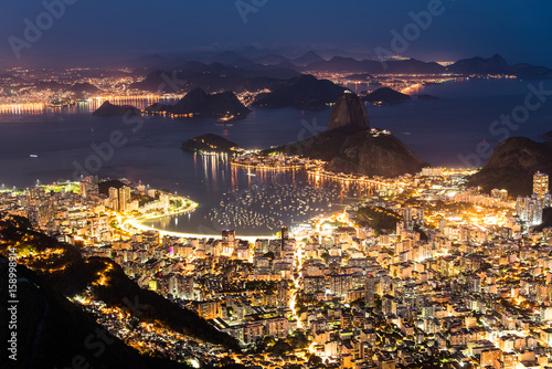 Beautiful Night View of Rio de Janeiro City With Famous Landmark - the Sugarloaf Mountain