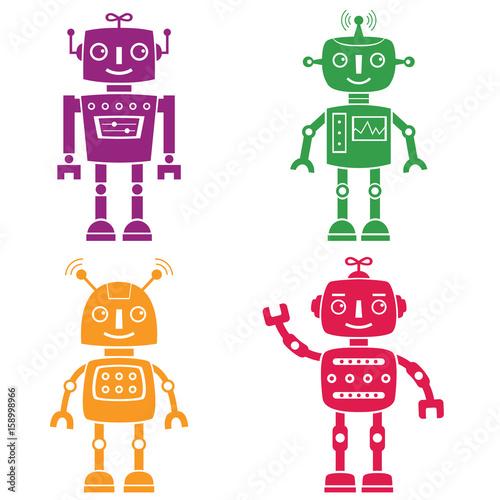 Naklejka Robots silhouettes set