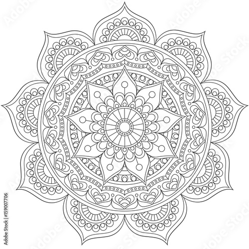 Mandala, square background design, lace ornament in oriental style. - 159007706
