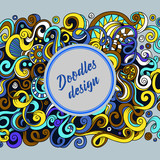 Abstract background, banner with text. Cartoon cute doodles hand drawn vector illustration.