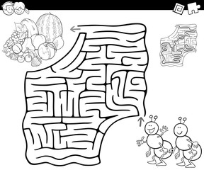 maze with ants and fruits for coloring