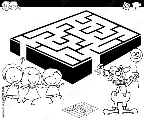 maze with kids and clown for coloring
