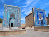 Mausoleums and ritual buildings of Khan (royal family). Necropolis of Shah-i-Zinda in Samarkand, Uzbekistan: blue and white mosaic on kings and nobles tomb