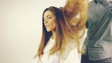 Coiffure blowing long hair after haircut retro style slow motion - 159020576