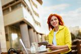 Businesswoman Working On A Coffee Break