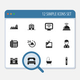 Set Of 12 Editable Travel Icons. Includes Symbols Such As Building, Employee, Shower And More. Can Be Used For Web, Mobile, UI And Infographic Design. - 159029543