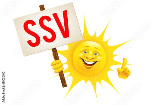 Fröhliche Sonne mit SSV Schild und Hand Geste © Artenauta
