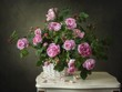 Still life with pink wild roses