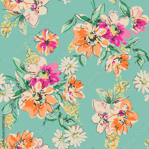 Fototapeta cute hand drawn flower print - seamless background
